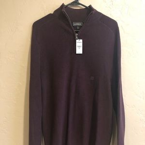 Men's Express Ribbed LG pullover sweater burgundy